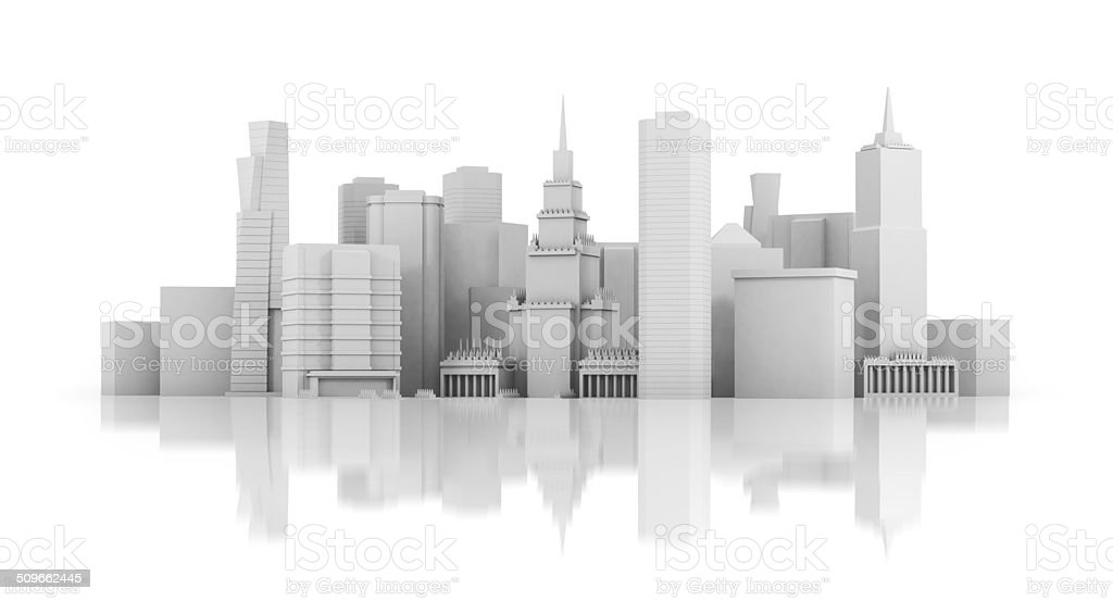 3d rendered illustration of a futuristic city stock photo