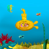 3d rendered illustration of happy family travel under sea