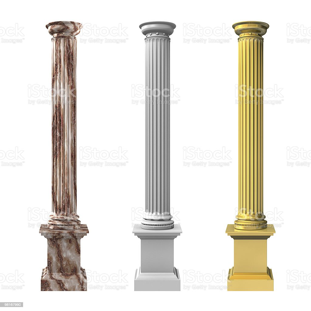 3d rendered illustration of three columns royalty-free stock photo