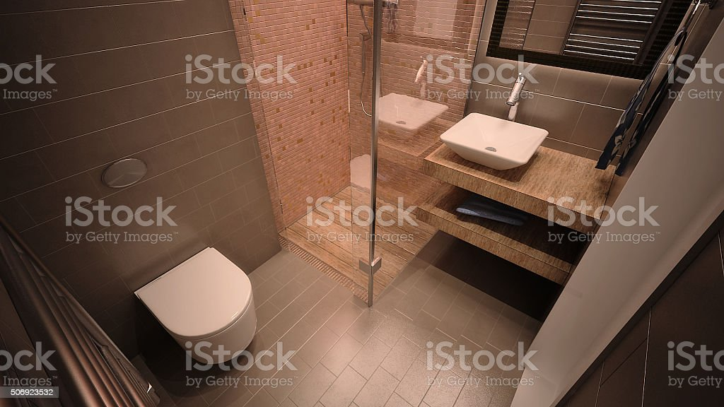 3d rendered image of a mouintain apartment bathroom stock photo