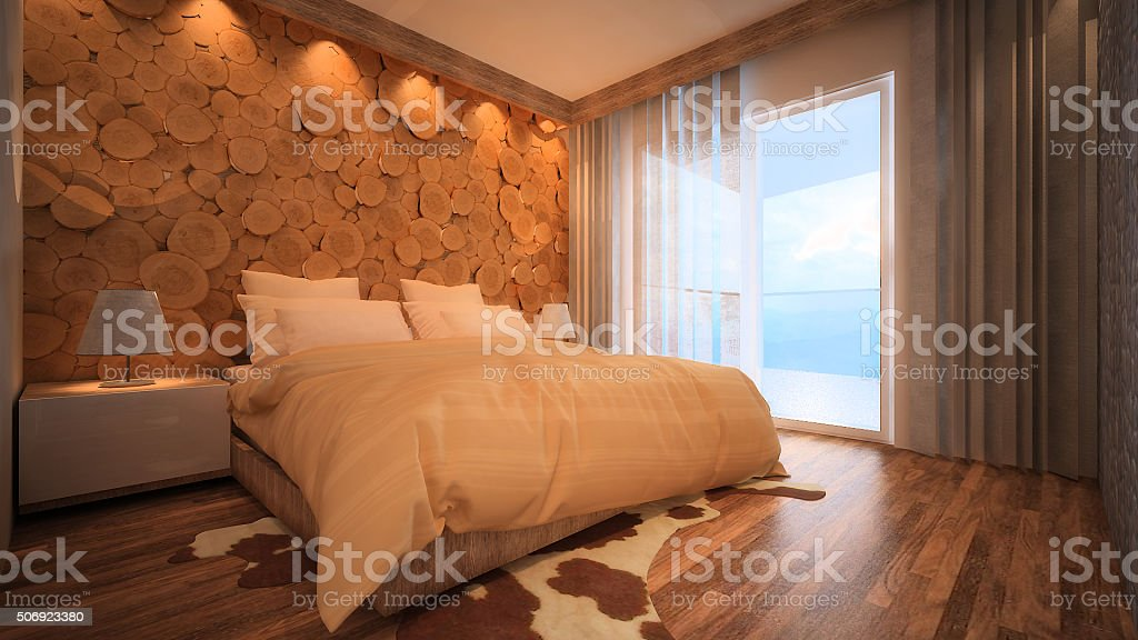 3d rendered image of a mountain apartment bedroom stock photo