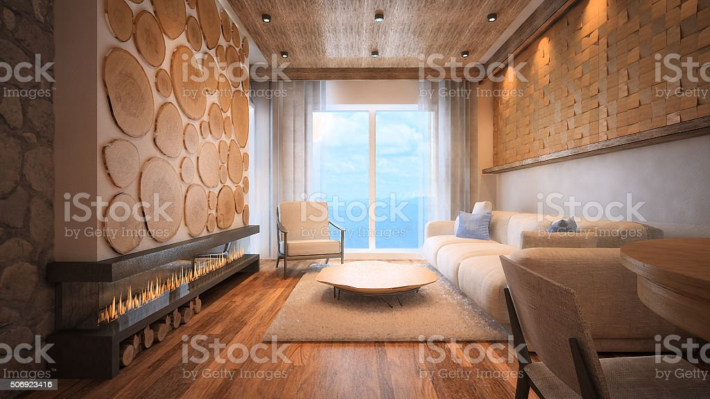 3d rendered image of a mountain apartment living room fireplace stock photo