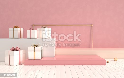 istock 3d rendered interior with geometric shapes, podium on the floor and gift box. Set of platforms for product presentation, mock up background. Abstract composition in modern minimal design 1144662981