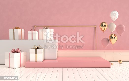 istock 3d rendered interior with geometric shapes, podium on the floor and gift box, glossy balloons. Set of platforms for product presentation, mock up background. 1159632309