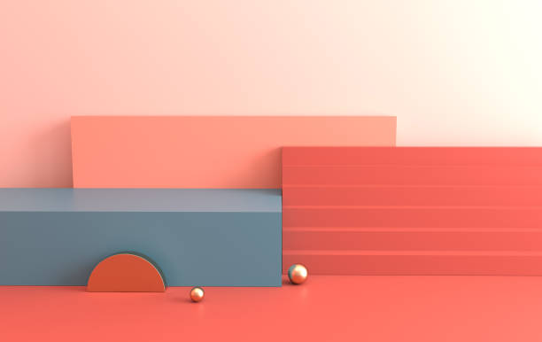 3d rendered interior with geometric shapes, podium on the floor. Set of platforms, stairs for product presentation, mock up background. Abstract composition in minimal design. Pastel colors 3d rendered interior with geometric shapes, podium on the floor. Set of platforms, stairs for product presentation, mock up background. Abstract composition in minimal design. Pastel colors stereoscopic image stock pictures, royalty-free photos & images