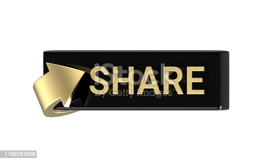495695633 istock photo 3d rendered Isometric gold share button with arrow isolated on white background 1169291509