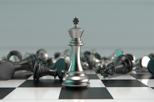 3d Rendered Metal Chess Pieces Concept