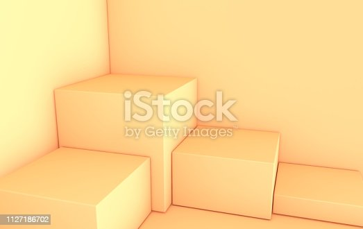 istock 3d rendered pastel beige geometric shapes, podium in the room. Set of cubic platforms for product presentation, mock up. Abstract composition in modern minimal design. Corner scene 1127186702