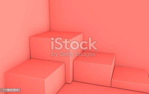 istock 3d rendered pastel pink geometric shapes, podium in the room. Set of cubic platforms for product presentation, mock up. Abstract composition in modern minimal design. Corner scene 1128329251