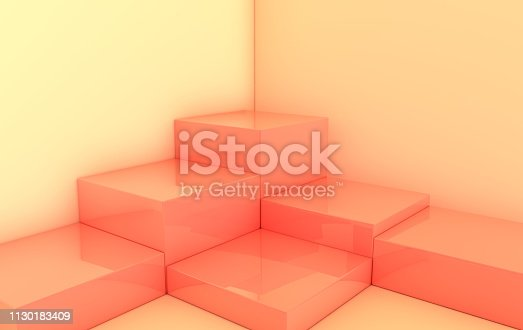 istock 3d rendered pastel pink geometric shapes, podium in the room. Set of cubic platforms for product presentation, mock up. Abstract composition in modern minimal design. Corner scene 1130183409