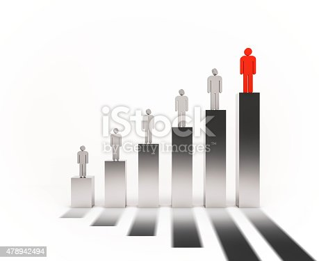 486678786 istock photo 3d rendered, people standing on bargraph. people  looking above people 478942494