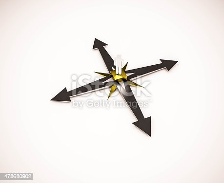 istock 3d rendered, person standing on compass with arrows 478680902