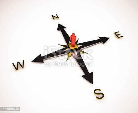 istock 3d rendered, person standing on compass with arrows 478695786