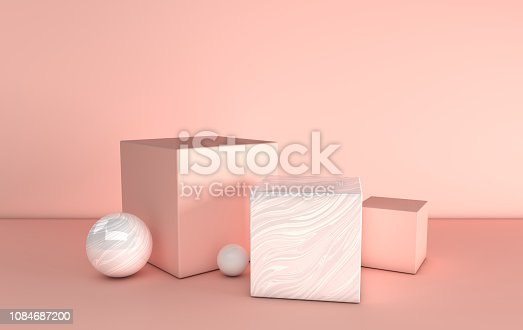 istock 3d rendered pink and marble geometric shapes, podium in the room. Set of platforms for product presentation, mock up. Abstract composition in modern minimal design 1084687200