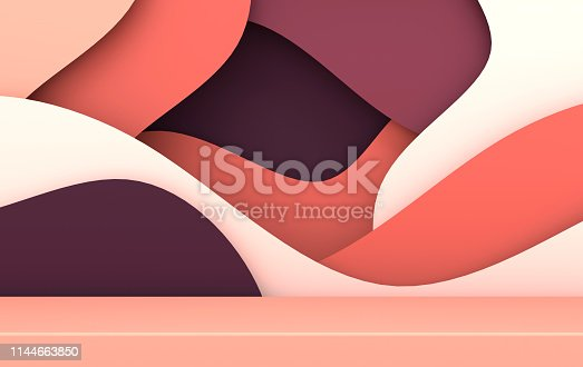 istock 3d rendered scene with paper waves and podium. Platform for product presentation, mock up background. Abstract composition in modern paper art style 1144663850