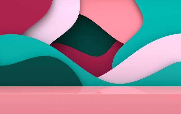 scène 3d rendue avec des vagues de papier et un podium. plate-forme pour la présentation du produit, maquette de fond. composition abstraite dans le style moderne de papier d'art - paper art photos et images de collection