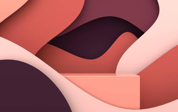 종이 파도와 연단 3d 렌더링 장면. 제품 프리젠 테이션을위한 플랫폼, 모의 배경. 현대 종이 예술 스타일의 추상적 인 구성 - 모양 뉴스 사진 이미지