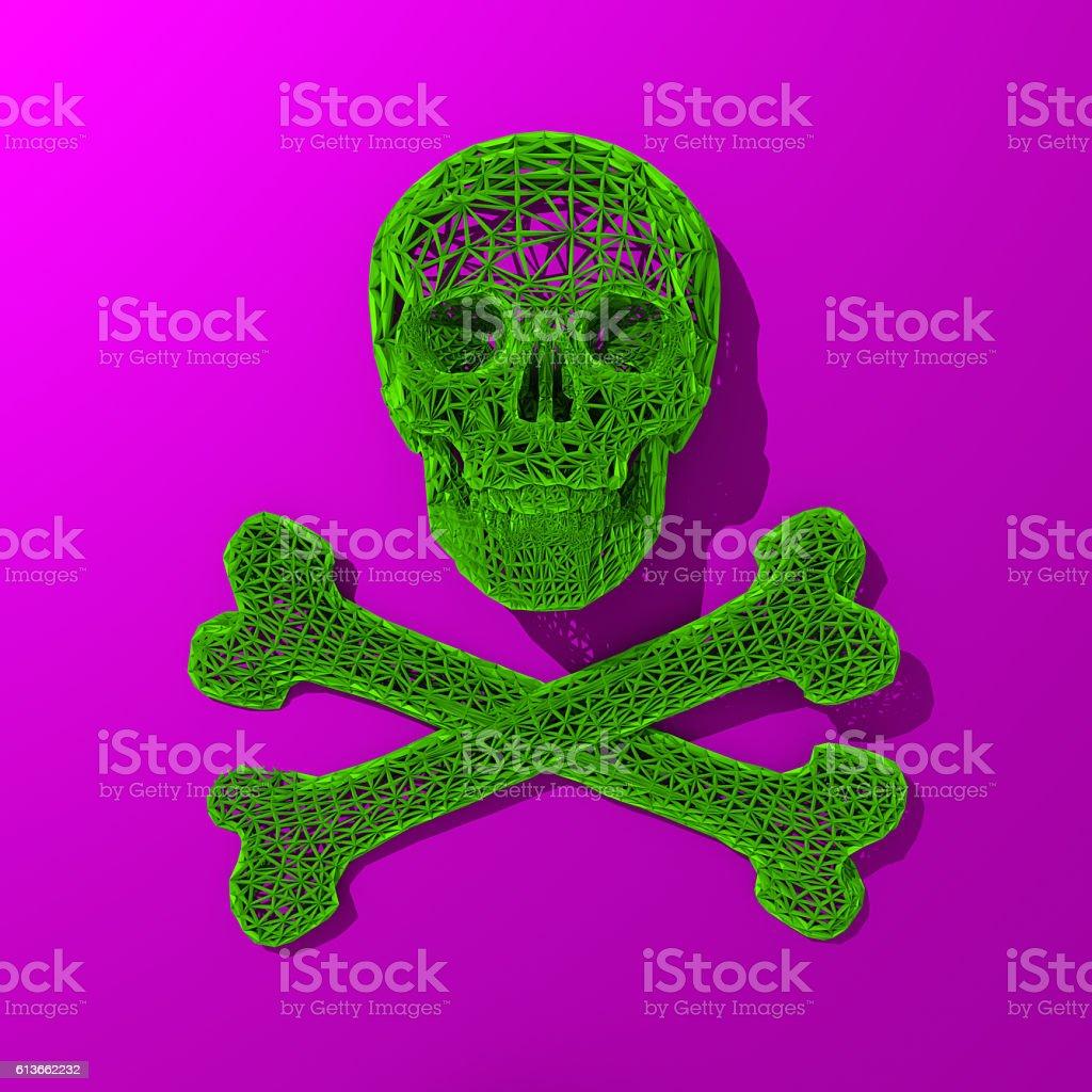 3d rendered skull low poly illustration - foto de stock