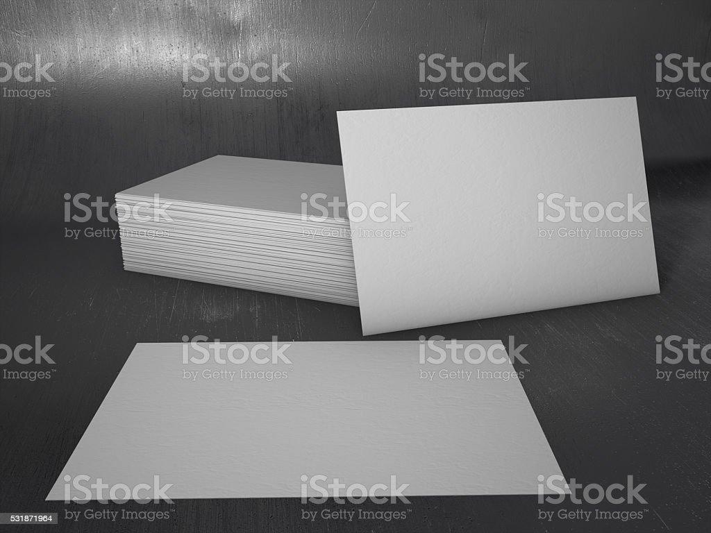 3 D Aus Stapel Von Leere Visitenkarten Auf Metallischem