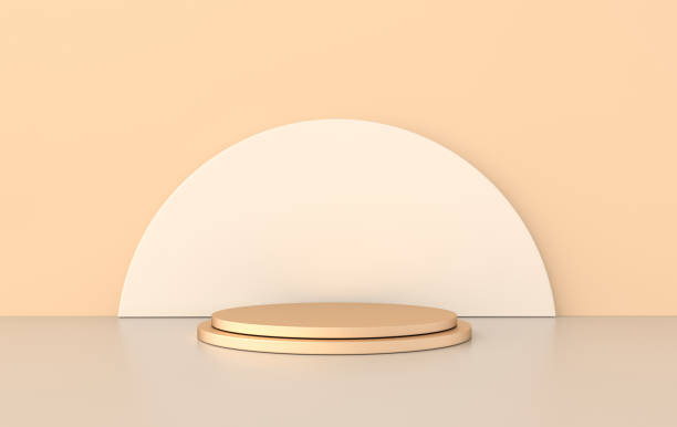 3d rendered studio with geometric shapes, podium on the floor. platforms for product presentation, mock up background. abstract composition in minimal design, pastel and gold colors - turno sportivo foto e immagini stock
