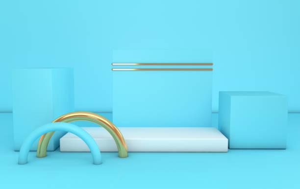 3D rendu blanc, or et bleus de formes géométriques, estrade dans la salle. Plates-formes de couleur pastel pour la présentation du produit. Composition de couleur pastel abstrait au design minimaliste modern - Photo