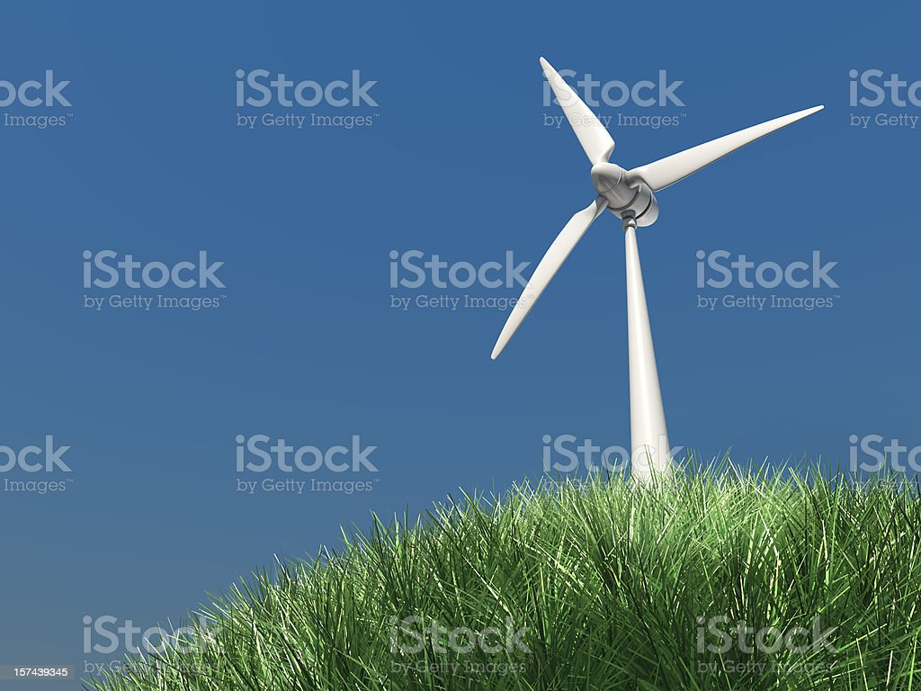 3d rendered wind turbine royalty-free stock photo