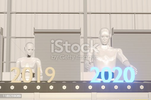 1042088340 istock photo 3d rendering 2020 year artificial intelligence or ai futuristic concept,  assistant robot try to put number of new year coming 2020 on operation line, industry 4.0 trend of automation robot in 2020 1185259089
