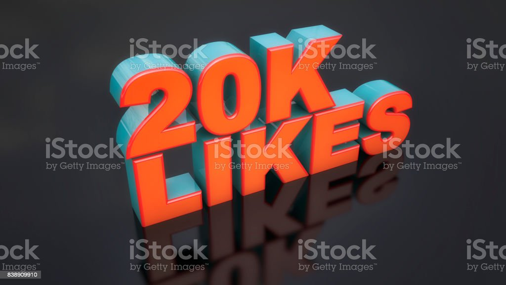 3d rendering. 3d likes text and black floor stock photo