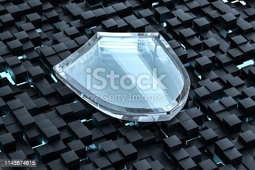 istock 3d rendering, a defense shield with technological background 1143874815