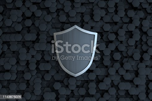 istock 3d rendering, a defense shield with technological background 1143875025