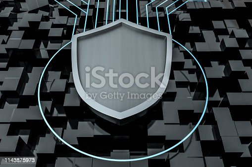 istock 3d rendering, a defense shield with technological background 1143875973