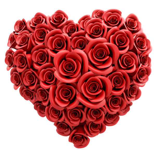 3d rendering: A heart of red roses isolated on white; love and tenderness concept - Valentines Day or Mother's Day stock photo