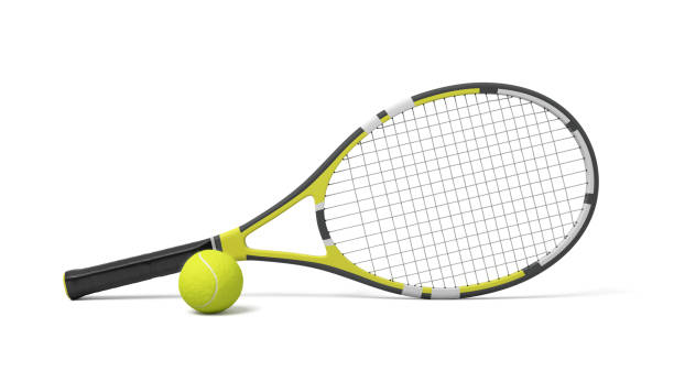 3d rendering a single tennis racquet lying with a yellow ball on white background. - racket stock pictures, royalty-free photos & images
