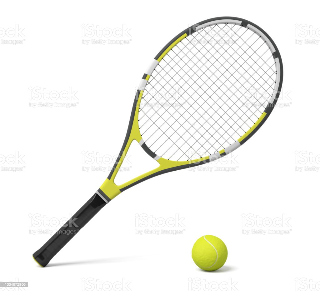 3d rendering a single tennis racquet lying with a yellow ball on white background. royalty-free stock photo