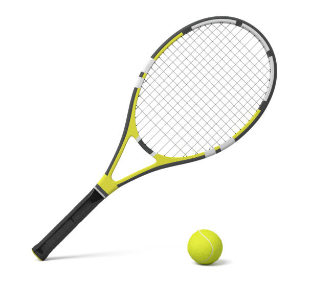 3d rendering a single tennis racquet lying with a yellow ball on white background. stock photo