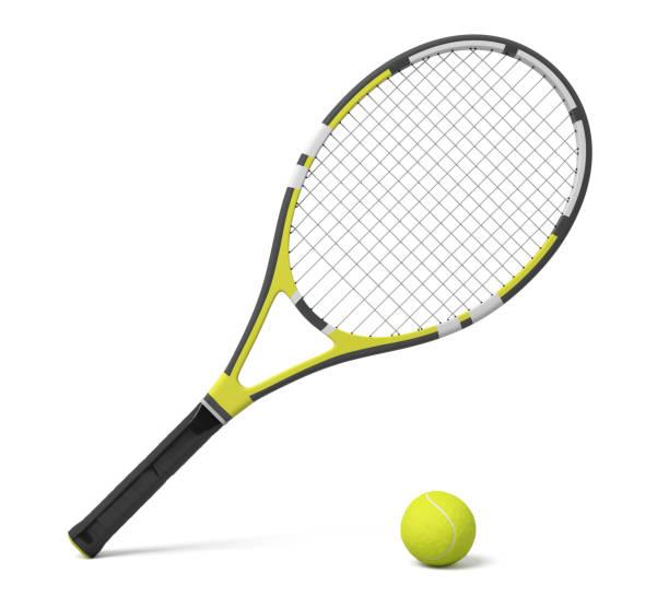 rendu 3D une raquette de tennis unique couché avec un jaune boule sur fond blanc. - Photo