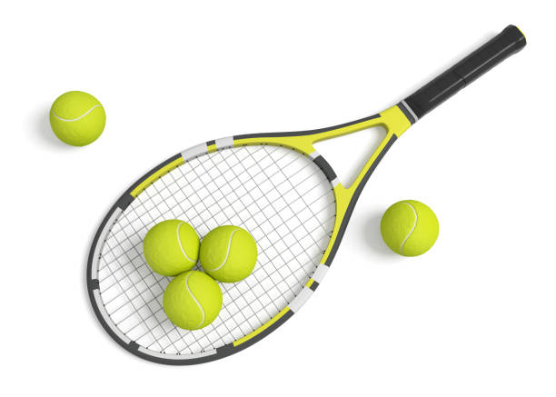 3d rendering a single tennis racquet lying with a yellow balls on white background. stock photo