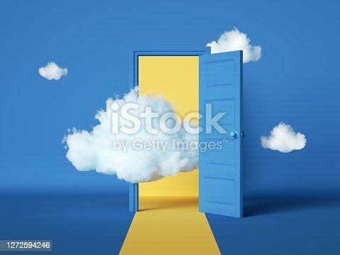 istock 3d rendering, abstract blue background with open door and white clouds flying out. Dream metaphor, modern minimal concept. Room interior scene 1272594246
