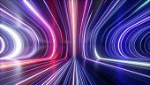 istock 3d rendering, abstract cosmic background, ultra violet neon rays, glowing lines, cyber network, speed of light, space-time continuum 1265005920