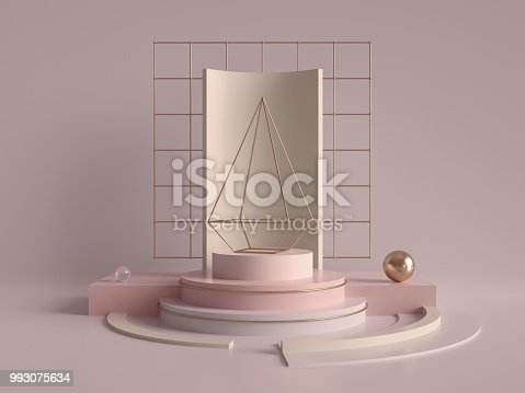 993080194 istock photo 3d rendering, abstract geometric background, primitive pyramid shape, rose gold grid, modern minimalistic mock up, blank template, empty showcase, art deco shop display, blush pink pastel colors 993075634