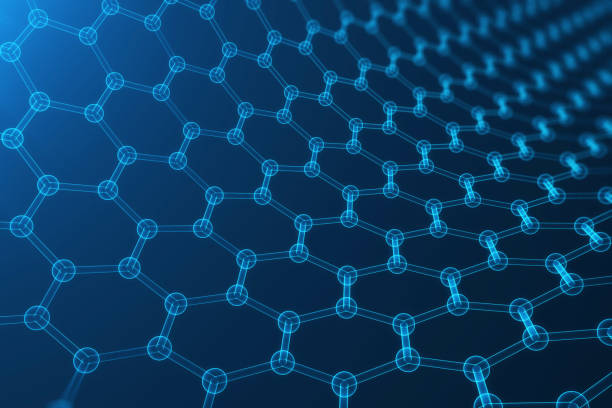 3d rendering abstract nanotechnology, glowing hexagonal geometric form close-up, concept graphene atomic structure, concept graphene molecular structure. stock photo
