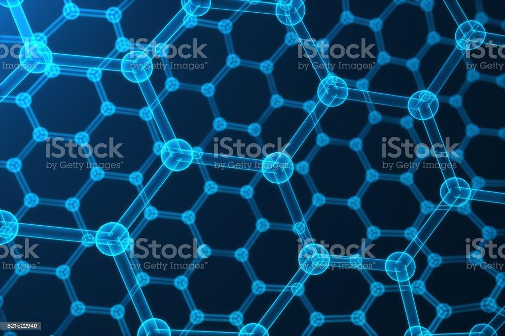 3D rendu abstrait nanotechnologie, rougeoyant close-up de forme géométrique hexagonale, structure atomique de graphène concept, structure moléculaire de graphène concept. - Photo