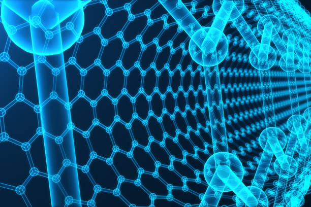 3 d レンダリング抽象的なナノテクノロジーの六角形の幾何学的形状のクローズ アップ、コンセプト グラフェン原子構造、概念グラフェンの分子構造。 ストックフォト