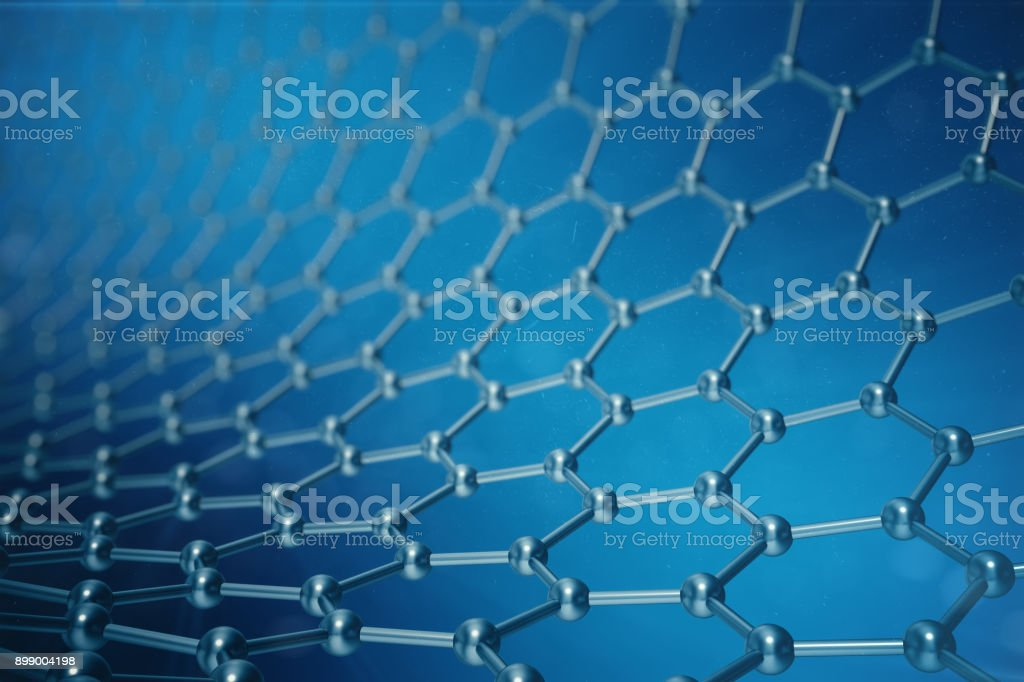 3d rendering abstract nanotechnology hexagonal geometric form close-up, concept graphene atomic structure, concept graphene molecular structure. stock photo