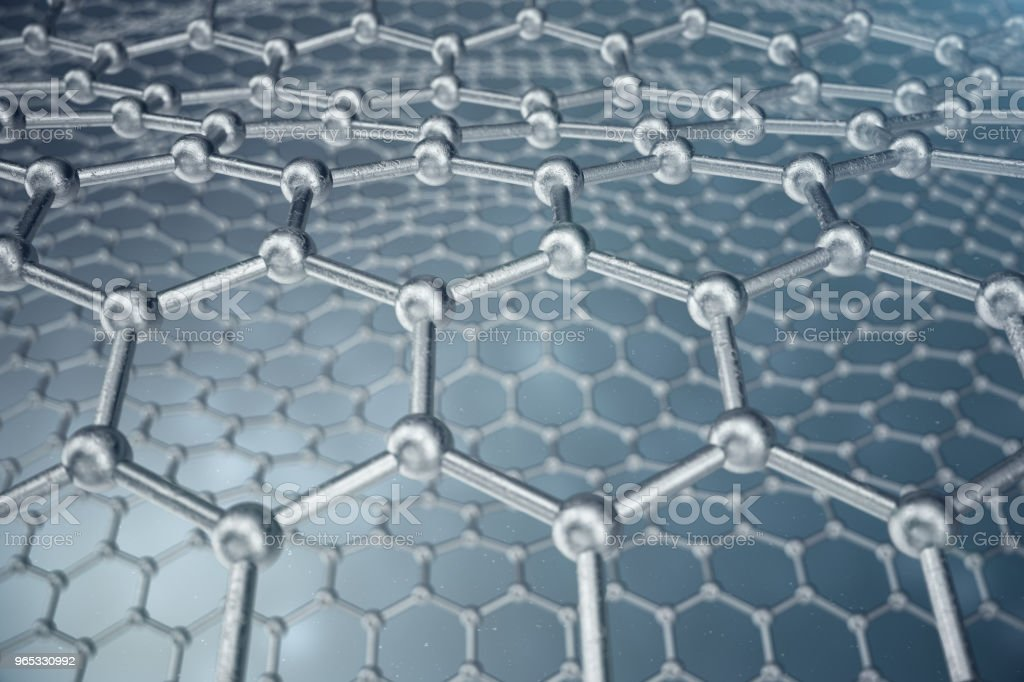 3d rendering abstract nanotechnology hexagonal geometric form close-up, concept graphene atomic structure, concept graphene molecular structure royalty-free stock photo