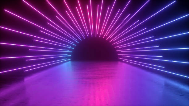 3d rendering, abstract neon background, empty tunnel, long corridor, path, road, performance stage, floor reflection, pink blue glowing lines, ultraviolet light 3d rendering, abstract neon background, empty tunnel, long corridor, path, road, performance stage, floor reflection, pink blue glowing lines, ultraviolet light disco lights stock pictures, royalty-free photos & images
