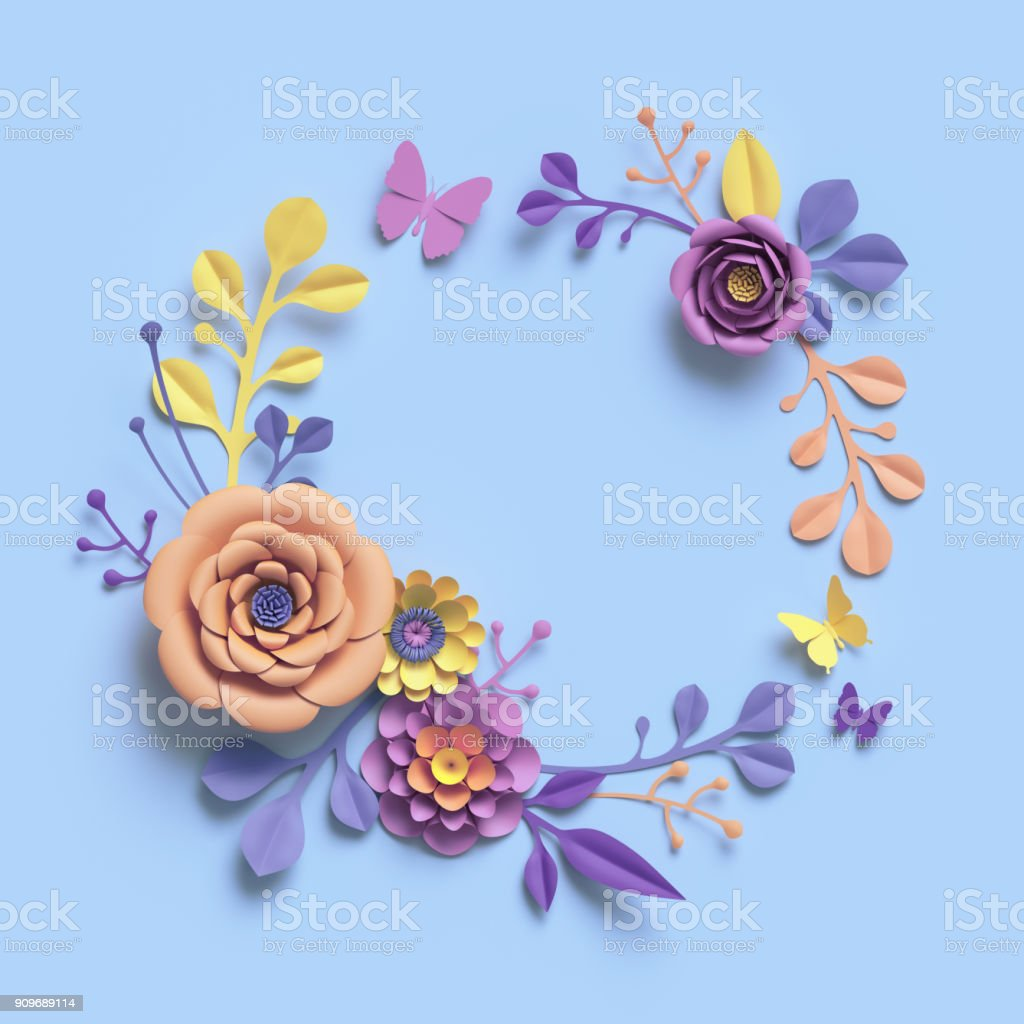3d Rendering Abstract Paper Craft Floral Wreath Botanical Background