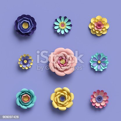 istock 3d rendering, abstract papercraft floral isolated elements, botanical background, paper flowers set, candy pastel colors, bright hue palette 909097426