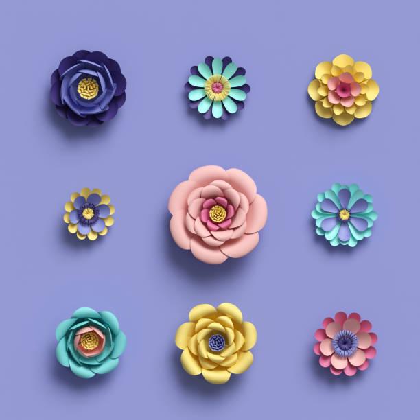 3D-Rendering, Süßigkeiten floral abstrakt Papercraft isolierte Elemente, botanischen Hintergrund Papier Blumen Set, Pastell-Farben, helle Farbe palette – Foto