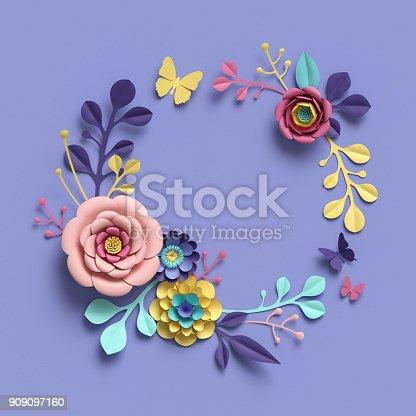 istock 3d rendering, abstract papercraft floral wreath, botanical background, paper flowers, round frame, blank greeting card, candy pastel colors, bright hue palette 909097160